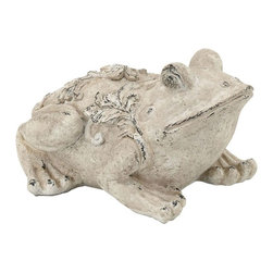 Benzara - Garden Frog in Cream Shade - Want to give your outdoor setting a more unique appeal? If yes, then this Fiber Glass Garden Frog is an excellent choice of accessory. This frog features a beautifully crafted modern design that has a distinctive appearance, making it ideal for incorporating in all kinds of decors. It sports a worn down look that is combined with a cream shade to give it a more stylish appeal that can bring a more eye catching look to gardens, backyard ponds and patios. Crafted with fiber glass of superior quality, this decorative garden frog has a sturdy build that can endure intense weather conditions to ensure long lasting appeal. You can also present it as a gift to your friend who is interested in keeping her garden neat and beautiful..