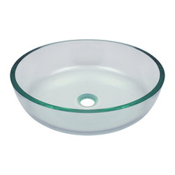 "MR Direct - MR Direct 625 Classic Bowl Glass Vessel Sink, Sink Only, Sink Only - The 625 clear vessel sink is manufactured using fully tempered glass. This allows for higher temperatures to come in contact with your sink without any damage. Glass is more sanitary than other materials because it is non-porous, will not absorb stains or odors and is easy to clean. This classic bowl-shaped vessel is made from clear glass that is sure to fit into any bathroom style.  A matching glass waterfall faucet is available to correspond with this sink. The overall dimensions for the 625 are 16 1/2"" Diameter x 4 1/2"" Height and an 18"" minimum cabinet size is required.  As always, our glass sinks are covered under a limited lifetime warranty for as long as you own the sink."