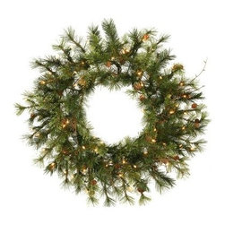 Vickerman 2 ft. Prelit Mixed Country Wreath - Ideal for cozy places, the Vickerman 2 ft. Prelit Mixed Country Wreath is decorated with pinecones to add a natural look and feel. Pre-lit with 50 clear lights, you'll love the soft, merry glow this wreath adds to your porch. About VickermanThis product is proudly made by Vickerman; a leader in high quality holiday decor. Founded in 1940; the Vickerman Company has established itself as an innovative company dedicated to exceeding the expectations of their customers. With a wide variety of remarkably realistic looking foliage; greenery and beautiful trees; Vickerman is a name you can trust for helping you create beloved holiday memories year after year.