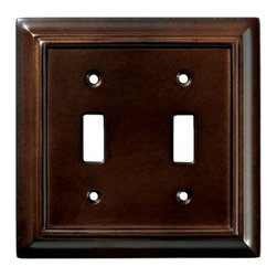 Liberty Hardware - Liberty Hardware 126343 Wood Architectural WP Collect 4.96 Inch Switch Plate - The Liberty Architectural Wood 2-Gang Espresso Switch Wallplate features durable MDF construction and an elegant finish. It houses 2 switches and conveniently includes mounting hardware. Width - 4.96 Inch, Height - 4.9 Inch, Projection - 0.4 Inch, Finish - Espresso, Weight - 0.26 Lbs.
