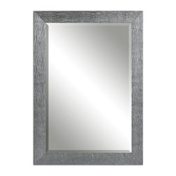 Uttermost - Tarek Silver Mirror - Frame has a textured, silver finish with a light gray glaze. Mirror is beveled. May be hung horizontal or vertical.