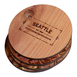 Neighborwoods - Neighborwoods Coasters, Seattle, Set of 4 - These handcrafted cedar coasters make sure we never forget where we came from. And when that place is Seattle, why would we want to!