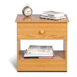 Prepac - Prepac One Drawer Night Stand in Oak Finish - Prepac - Nightstands - OBD20201 - The practical and function-before-flair designation of the One Drawer Night Stand with it's clean lines and classic shape will blend perfectly into almost any decor and provide for your bedside needs more than adequately. It features a natural wood finish drop-bail hardware and a deep bottom drawer and open compartment to appeal to both your style and budget consciences.