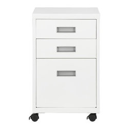 3-Drawer White Metal Cabinet - A great value for generous three-drawer storage on wheels. White powdercoated metal cabinet has one letter-legal file drawer, two storage drawers. Front casters lock for stability.