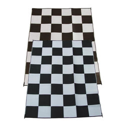 Fireside Patio Mats - Modern Indoor/Outdoor Fireside Patio Mats Rugs Racing Checks Black and White - Shop for Flooring at The Home Depot. Fireside Racing Checks 108 in. x 144 in. Reversible Patio Mat comes in a Black and White color combination and checkered pattern. This mat is large enough to comfortably sit 4 to 6 adults. Fireside reversible RV / Patio Mats will add a touch of elegance to your deck or patio. These high quality Polypropylene (plastic) mats are reversible with a complimentary pattern on the opposite side. You get two patterns for one low price. Fireside Patio Mats are lightweight and compact when folded so they are easy to travel with and easy to store. All of our Fireside indoor/outdoor reversible patio mats are stain and fade resistant and clean up is a breeze. Simply rinse your mat with a garden hose and allow to air dry. Fireside reversible patio mats have corner tie-down loops to stake the mat to the ground in windy conditions (tent stakes sold separately). Use our lightweight reversible patio mats to spruce up a tired old deck or patio while camping or RVing on the beach by the pool for picnics at car races while tailgating in the backyard or in the playroom or recreation room. Whether you call them RV mats RV awning mats or simply patio mats Fireside Patio Mats offers high quality reversible mats that are simply gorgeous and functional. Color: Black and White.