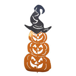 Rustica Ornamentals - Three Stacked Pumpkins Garden Stake - This handcrafted Three Stacked Pumpkins Garden Stake will add lots of charm to your Halloween decorations. Whether you go colorful or with the classic rustic design you can't go wrong!