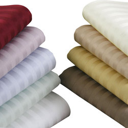 Luxor Linens - Giolla Stripe Sheet Set, Twin XL, Wine - Give your bed a makeover that's equal parts stylish and snug. Handsome in stripes and uncommonly soft, these superb sheets will keep your bed elegantly attired and you reaching for the snooze button.