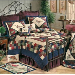C & F Enterprises, Inc. - Whispering Pines 86 x 86 Full/Queen Quilt - -Hand quilted patchwork with Embroidery  -Cover: 100% Cotton; Filling: 100% Polyester Exclusive of Decoration  -Dry Clean Only. C & F Enterprises, Inc. - 84829.8686