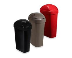 Umbra - Umbra Flippa Trash Can - Great for the dorm, kitchen or any room where you need a waste basket, this durable, plastic trash can features a convenient swing top lid and a slim profile so it is easily tucked into a corner, next to a desk or a table in the workshop.
