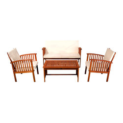 Great Deal Furniture - Beckley 4-Piece Outdoor Seating Set - The Beckley 4 piece Outdoor Sofa Set offers all the benefits and style of an indoor sofa set with the durability to be kept outdoors. Constructed from beautiful brown hardwood, this set includes two (2) single armchairs, one (1) love seat and one (1) coffee table. This piece plush beige cushions that provide a comfortable experience for your guests.