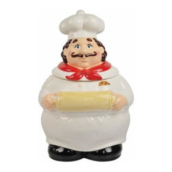 WL - 11 Inch Cookie Baker in Chef's Hat Painted Ceramic Cookie Jar - This gorgeous 11 Inch Cookie Baker in Chef's Hat Painted Ceramic Cookie Jar has the finest details and highest quality you will find anywhere! 11 Inch Cookie Baker in Chef's Hat Painted Ceramic Cookie Jar is truly remarkable.