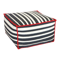 JITI - Roads Black Ottoman - Whether you're looking to kick your feet up or sit your bottom down, this handsome striped wool ottoman is up to the task. You can even use it as a surface to set down a tray of libations or set up a board game.