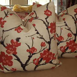 "Gorgeous Custom ""Flowering Chinese Quince"" Down Pillows By Walsh Designs - Clarence House's ""Flowering Quince"" makes a beautiful pillow cover that is floral, but not overly feminine."