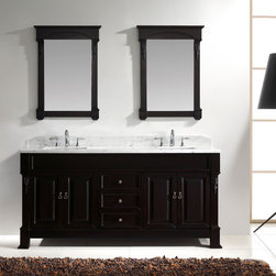 "Virtu USA - Virtu USA GD-4072 - Huntshire 72"" Double Sink Bathroom Vanity - The Huntshire collection makes a bold statement with defining straight lines and strong features. It offers a spacious storage space and gorgeous marble top. Huntshire is the perfect vanity for anyone who finds beauty in traditional class."