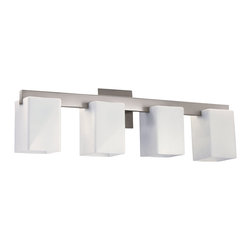 Quorum Lighting - Quorum Lighting Modus Transitional Bathroom / Vanity Light X-56-4-6705 - From the Modus Collection, this Quorum Lighting bathroom vanity light comes with four lights and a blend of clean lines and matte-style finishes. The matte styling allows for a softer, more elegant look. The diffusers come in a rectangular shape with an open bottom that is ideal for down lighting.