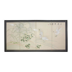 "Oriental Furniture - Cranes in Full Moon - 18"" - The Cranes in Full Moon motif depicts beautiful cranes and marsh plants in a wetland at moonrise. Subtle, beautiful hand painted wall art."