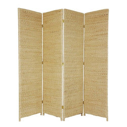 Oriental Furniture - 6 ft. Tall Rush Grass Woven Room Divider - 4 Panel - Natural - A unique, rustic design folding screen. Well crafted with richly textured, durable, water hyacinth rush grass, an eco-friendly, abundant, sustainable material. Solid, substantial, and beautiful, equally attractive from the front or the back.