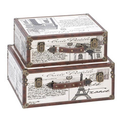 Aspire - Paris Decorative Suitcase Trunks - Set of 2 - These boxes are perfect for decoration as well as storage. The two suitcases feature Paris and Eiffel tower icons as well as script on a white faux leather background. Antique bronze metal hardware complete each piece. Wood and faux Leather. Color/Finish: White, brown. Decorative in-home use only. 8 in. H x 17 in. W x 13 in. D. 6 in. H x 15 in. W x 11 in. D. Weight: 20 lbs.