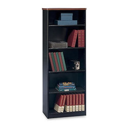 Bush Business - Black Bookcase w Cherry Trim Top - Series A - Put wasted vertical space to good use with our upright black bookcases. They're capped with a rich and elegant cherry trim top that will be at home in any setting. The styling brings balance to a room and mixed adjustable shelving allows for customized organization. Put all your ledgers in reach with our Bookcase finished in Hansen Cherry. This lovely bookshelf has a cherry finish and contrasting top to bring style in any room of your home. * Three adjustable shelves. Two shelves fixed for structural integrity. Fits binders and business forms with 13 1/2 in. depth . Hansen cherry finish. Item ships ready for easy assembly. 25.375 in. W x 13.625 in. D x 66.375 in. H
