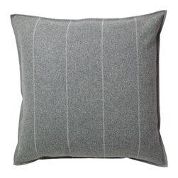 Designer's Eye - Designer's Eye - Stripe Pillow - This luxurious double-woven felted wool pillow is incredibly soft and has a clean Scandinavian design - we simply cannot get enough of them. The colors are rich and vibrant and the Gray's are achieved not by dying but by weaving together up to 8 different colors of wool. Available with or without high quality goose down insert. All cases have a zipper for easy removal and cleaning. Dry clean.