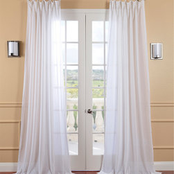 EFF - White Orchid Faux Linen Sheer Curtain Panel - Your windows will look elegant after hanging these faux-linen sheer curtain panels. The unlined,white orchid-colored panels diffuse sunlight without darkening a room,and the pole pocket construction is ideal for an ornate curtain rod or drapery rings.