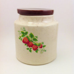 Strawberry Canister Cookie Jar by Comforte - It might be hard to resist getting your hands caught in this cookie jar, with its sweet strawberry pattern.