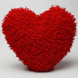 Tag Everyday - Heart Pillow in Red - Shaggy chenille pillow. Requires separate cold machine wash with gentle cycle and line dry. Filled cushion. Made from 100% cotton. 16 in. L x 16 in. W