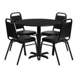 Flash Furniture - Flash Furniture 5 Piece Laminate Table Set in Black - Flash Furniture - Lunchroom Tables - HDBF1001GG - No need to buy in pieces this complete Banquet Table and Chair set will save you time and money! This set includes an elegant Black Laminate Table Top X-Base and 4 Black Banquet Chairs that have a 500 lb. capacity rating to accommodate all users. Use this setup for Banquet Halls Wedding Ceremonies Hotel Conferences Restaurants Break Room/Cafeteria Settings or any other social gathering. This Commercial Grade Table Set will last for years to come with its heavy duty construction.
