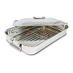 Cuisinox - Cuisinox 16x10 inch Covered Rectangular Roaster with Rack - Also referred to as a lasagna pan, this covered rectangular roaster with grilling rack in a lustrous stainless steel mirror finish is the complete package. The grilling rack helps prevent food from boiling in its' juices. The handy cover helps prevent burning the top layer of lasagna. Now the secret's out.