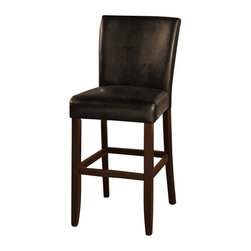 American Heritage - Adriana 30 in. Bar Stool in Brown and Brown - Set of 2. Finished in Brown. Black Vinyl Upholstery. Solid Wood Frame. 3 in. Cushion. Stationary Stool. Floor Glides. Construction Material: Wood. Assembly Required. 30 in. Seat Height. 1 Year Warranty. Seat Width: 19 inches. Seat Depth: 17 inches. 19 in. W x 25 in. D x 45 in. H