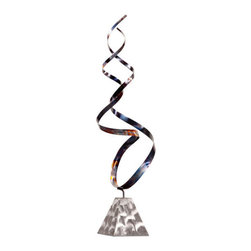ZUO - Killian Sculpture - Slender metal blows upward, as if from a subway grate. The Killian Sculpture moves like a faintly rainbow hued ribbon. Reaching for the sky as it curls around itself, it's a beautiful symbol for any home.