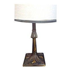 Used Art Nouveau Style Bronze Lamp - Classic Art Nouveau organic designs adorn this bronze lamp. It is in excellent condition. The shade is not included.