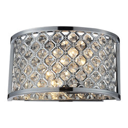Elk Lighting - Genevieve 2-Light Wall Sconce in Polished Chrome - This series offers a brilliant display of shimmering crystal with upscale aesthetics. High quality polished crystal laced into a lattice patterned polished chrome metal band, creating a stunning interplay of light and texture. The design is further enriched by a frosted glass diffuser and crystal finial.