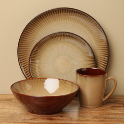Sango - Sango Focus Brown 16-piece Dinnerware Set - Set your table with a casual but attractive set of dishes with the focus brown dinnerware set from Sango. The 16-piece set of microwavable Sango dinnerware includes four dinner plates,salad plates,soup bowls and mugs.