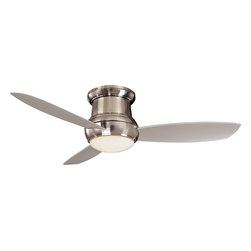 """Minka Aire - Minka Aire F574-BNW Concept Brushed Nickel Flush Mount 52"""" Outdoor Ceiling Fan - Indoor or Outdoor Use"""