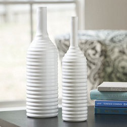 Ballard Designs - Coconut Grove Vase - Crafted of glass. Dust lightly. Our glossy, milk-white Coconut Grove Vase has a cylindrical shape and ribbed design that adds subtle texture to a grouping of objects. It's also striking on its own: fill it with a single stem and add dramatic height to a tabletop or mantel. Coconut Grove Vase features: . .