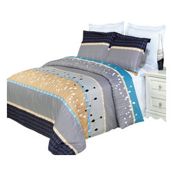 Bed Linens - Manhattan Printed Multi-Piece Duvet Set Full/Queen 4PC Comforter Set - Enjoy the comfort and Softness of 100% Egyptian cotton bedding with 300 Thread count fiber reactive prints.*100% Egyptian cotton *300 Thread count *Reactive Print, lasts longer and looks like real live pictures .