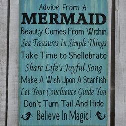 Beach Decor, Advice From A Mermaid Sign, Mermaid Decor, Bathroom, Nautical - Rustic Home Wall Décor - Advice From A Mermaid - Mermaid Poem Art, Beach, Coastal, Nautical Signs - Reclaimed Wood & Hand Painted in seafoam green, mint green, aqua, light blue, purple, lavender and teal.