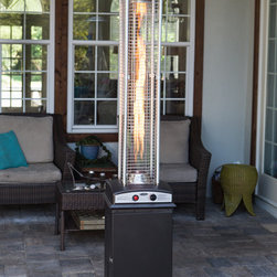 """Fire Sense 61166 Mocha Square Flame Heater - Fire Sense 61166 Mocha Finish Square Flame Patio HeaterOur new patented Mocha Finish Square Flame Patio Heater brings a new dimension to outdoor heating. The stylish unit provides a uniquely visual flame while providing heat in every direction. This attractive piece of art will be the focal point of any outdoor setting. This high quality unit features a tip over protection system for your safety. Attached wheels provide easy mobility.• Powder Coated Sheet Metal• 41,000 BTUs• Patented Design• Beautiful Tall Flame• Stainless steel burners & heating grid• Uses standard 20 lb LPG BBQ tank - NOT INCLUDED• Safety auto shut off tilt valve• Convenient wheel assembly• Ships in one carton• Consumption Rate (Approx) 10-12 hrs - 20 lb LPT tank• ETL ApprovedAssembled Dimensions: 20"""" L x 20"""" W x 87"""" H, Weight: 47 lbs.;Carton Dimensions: 21"""" L x 21"""" W x 37"""" H, Weight: 59 lbs."""