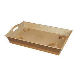 None - Little Butler Wicker Serving Tray - Color: Wicker Materials: ABS plastic textured surface UV-protected against fading Dimensions: 24 inches long x 15 inches wide x 4 inches high