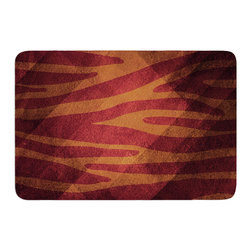 """KESS InHouse - Nick Atkinson """"Red Zebra Texture"""" Memory Foam Bath Mat (17"""" x 24"""") - These super absorbent bath mats will add comfort and style to your bathroom. These memory foam mats will feel like you are in a spa every time you step out of the shower. Available in two sizes, 17"""" x 24"""" and 24"""" x 36"""", with a .5"""" thickness and non skid backing, these will fit every style of bathroom. Add comfort like never before in front of your vanity, sink, bathtub, shower or even laundry room. Machine wash cold, gentle cycle, tumble dry low or lay flat to dry. Printed on single side."""