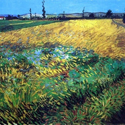 "Vincent Van Gogh Wheat Field with the Alpilles Foothills Print - 16"" x 20"" Vincent Van Gogh Wheat Field with the Alpilles Foothills in the Background premium archival print reproduced to meet museum quality standards. Our museum quality archival prints are produced using high-precision print technology for a more accurate reproduction printed on high quality, heavyweight matte presentation paper with fade-resistant, archival inks. Our progressive business model allows us to offer works of art to you at the best wholesale pricing, significantly less than art gallery prices, affordable to all. This line of artwork is produced with extra white border space (if you choose to have it framed, for your framer to work with to frame properly or utilize a larger mat and/or frame).  We present a comprehensive collection of exceptional art reproductions byVincent Van Gogh."