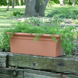 Rectangle Resin Scottsdale Planter Box - The Scottsdale Resin Planter Box's simple but striking design lets you focus attention on your favorite blooms and greenery. This rectangular planter is crafted of durable lightweight poly resin plastic giving it the look and feel of real clay but without the chipping and cracking. Its durability also lends itself well to high-traffic areas in your home or backyard. Suitable for indoor or outdoor use in any climate this commercial-quality planter is UV-protected for complete fade resistance. Designed for use in the harshest climates it will not crack or break during the freeze-and-thaw season. Available in various sizes and colors so you are sure to find the combination that works for you. You can also choose whether your planter comes with or without drainage holes. Add visual interest to your backyard or sun room decorating scheme by mixing and matching different sizes! 30 inch Planter shown above in Terra Cotta. SIZE DIMENSIONS: 24.25 in. Planter 24.25L x 12.25W x 10.75H inches Top Outer Dimensions: 24.25L x 12.25W inches Base Outer Dimensions: 20.25L x 8.375W inches Weight: 5.5 lbs. 30.25 in. Planter 30.25L x 12.25W x 10.75H inches Top Outer Dimensions: 30.25L x 12.25W inches Top Inner Dimensions: 27.25L x 9.25W inches Base Outer Dimensions: 26.25L x 8.5H inches Weight: 6.75 lbs. 36.25 in. Planter 36.25L x 12.25W x 10.75H inches Top Outer Dimensions: 36.25L x 12.25W inches Top Inner Dimensions: 33.25L x 9.25W inches Base Outer Dimensions: 32.25L x 8.375W inches Weight: 8 lbs. 36.25 in. Planter - Wide 36.25L x 15.25W x 13.75H inches Top Outer Dimensions: 36.25L x 15.25W inches Top Inner Dimensions: 33.25L x 12.25W inches Base Outer Dimensions: 32.25L x 11.5W inches Weight: 11 lbs. About Riverside PlasticsFor versatile containers that can take the heat look to Riverside Plastics. With planters that look and feel like clay pots but are actually made of strong polyethylene Riverside offers planters durable and attractive enough for use in golf courses hotels malls and theme parks. Riverside planters are appropriate for use indoors or out and come in a pleasing variety of sizes (from 8 - 60 inches) and colors that span the color wheel. Preferred by architects decorators landscape designers and plantscapers for projects around the world Riverside Plastics offers products that provide the means to fill your needs.