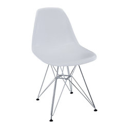 Modern Plastic Dining Chair, White - The classic plastic side chair with chromed steel base remains popular today for cafeterias, home offices, and dining areas. A clean, simple form sculpted to fit the body.