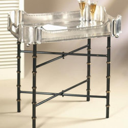 Dessau Home - 21 in. Tray Stand - Tray not included. Made from iron and bamboo. Used for 24 in. x 18 in. tray. 21 in. H