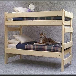 The Premier Solid Wood Bunk Bed 1000 Lbs Wt. Capacity - Make The Best Use Of Your Limited Space With This Bunk-Bed In Unfinished Solid Spruce. All Rails And Ladder Rungs are made of 2 ft. x 6 ft solid Spruce. The Entire Bunk-Bed Is A Free Standing Bunk-Bed That Comes As A Ready To Assemble Kit.
