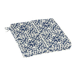 Outdoor Cushion, Delray Azure EasyCare - Bring a little something jazzy to your outdoor area as well with patterned upholstery like this bold seat cushion.