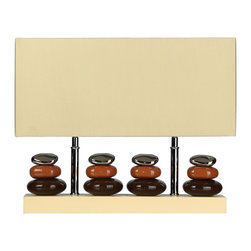 Cortesi Home - Quadro Table Lamp - The rectangular shape of the Quadro table lamp is ideal for desks or narrow tables. The chrome and earth colored rocks create a mellow feel and are paired with a cream shade. This lamp also features dual lamp sockets ideal for those wanting a brighter light. UL approved. ON/OFF switch on cord. 2 x 60 Watt Bulb Max (not included)