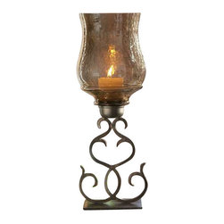 Uttermost Sorel Metal Candleholder - Antiqued bronze metal and transparent copper brown glass. White candle included. Hand forged metal finished in antiqued bronze with a transparent, copper brown glass globe. White candles included.