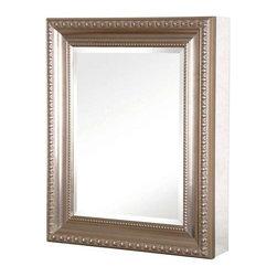 Pegasus - 24in.  x 30in.  Recessed or Surface Mount Mirrored Cabinet, Brushed Nickel - 24 in. x 30 in. Recessed or Surface Mount Mirrored Medicine Cabinet with Deco Framed Door in Brushed Nickel